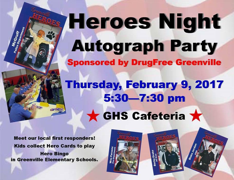 Heroes Night sponsored by Drug Free Greenville on Thursday