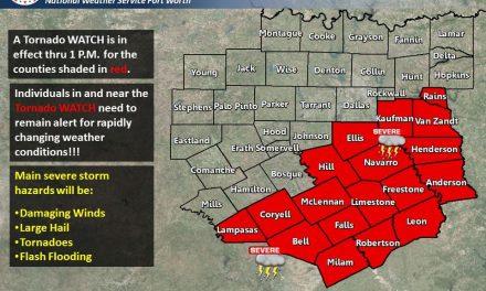 Tornado Watch for Southeastern Hunt County until 1 p.m.