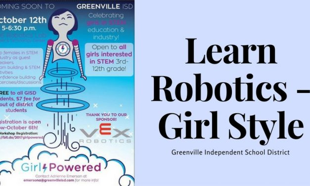"Greenville HS Robotics Lab ""Girl Powered"" set for October 12"