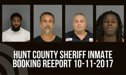 Hunt County Inmate Booking Report – October 11, 2017