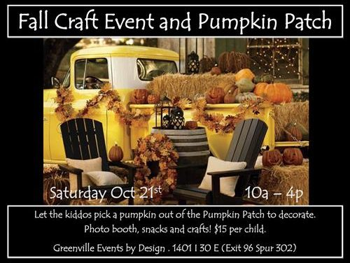 Fall Craft Event and Pumpkin Patch tomorrow