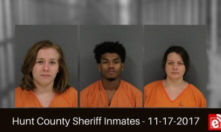 Hunt County Sheriff Inmate Booking Report – November 17, 2017