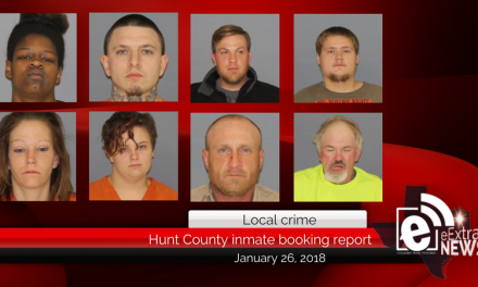 Hunt County inmate booking report || January 26, 2018