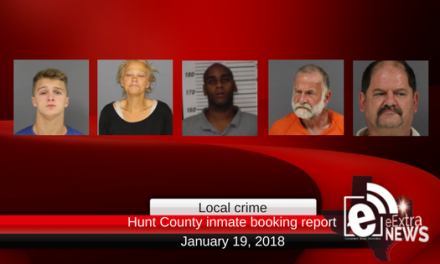 Hunt County inmate booking report || January 19, 2018