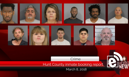 Hunt County inmate booking report || March 8, 2018