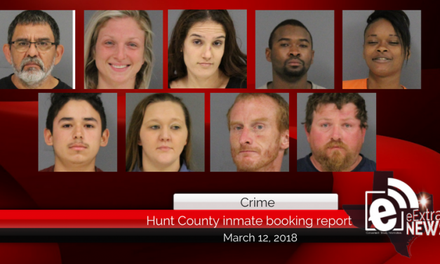 Hunt County inmate booking report || March 12, 2018