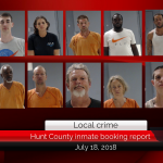 Hunt County Sheriff inmate booking report || July 18, 2018