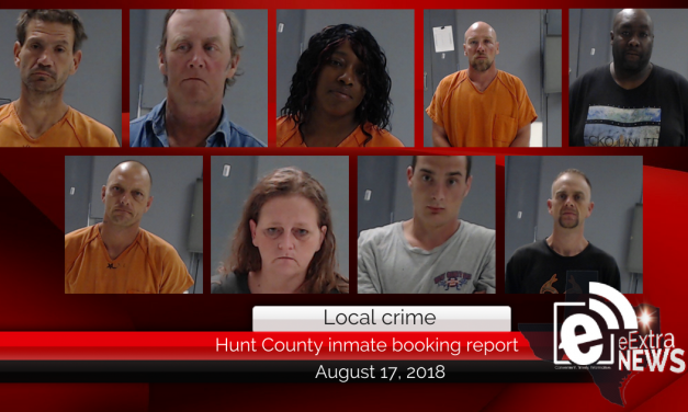Hunt County inmate booking report || August 17, 2018