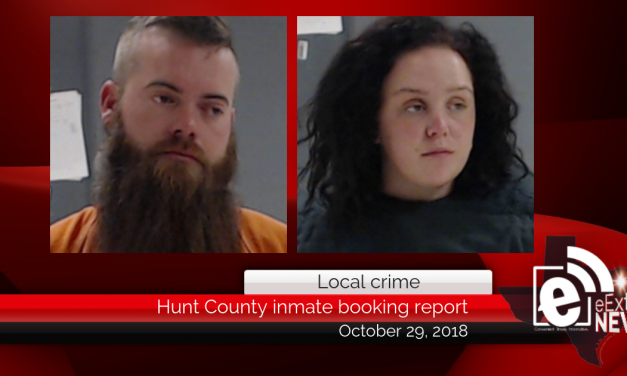 Hunt County inmate booking report || October 29, 2018