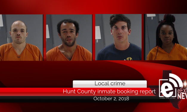 Hunt County inmate booking report || October 2, 2018