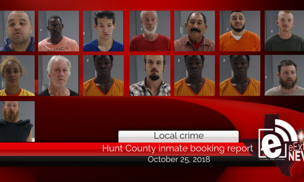 Hunt County inmate booking report || October 25, 2018
