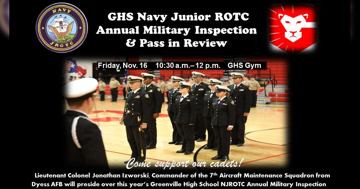 GHS NJROTC Military Inspection and Pass in Review is drawing near