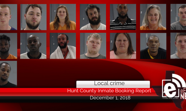 Hunt County inmate booking report || December 1, 2018