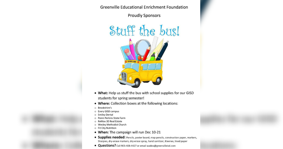 Greenville ISD event: Stuff the Bus