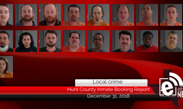 Hunt County inmate booking report || December 31, 2018
