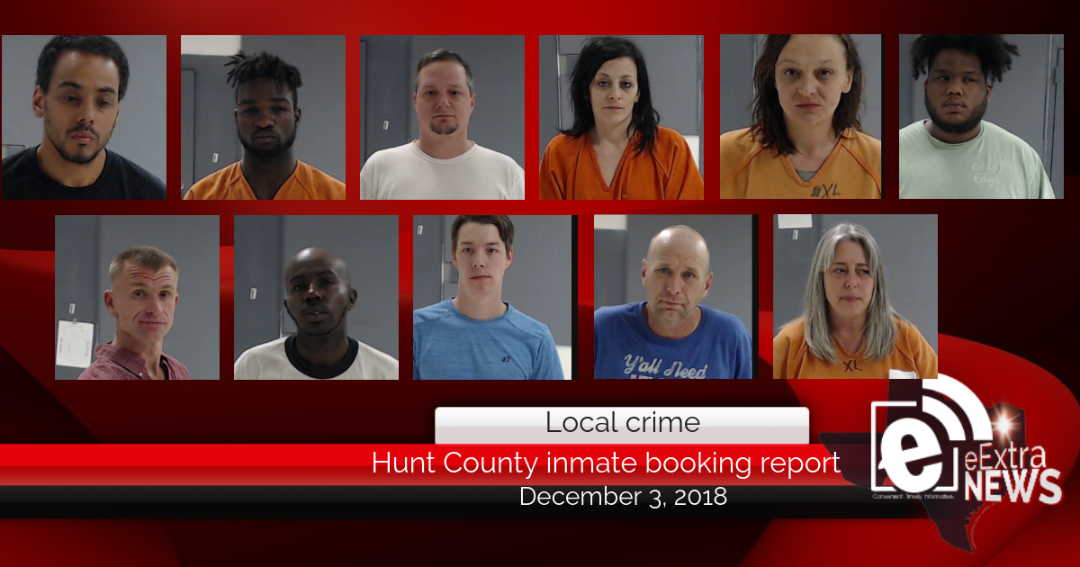 Hunt County Sheriff inmate booking report || December 3, 2018