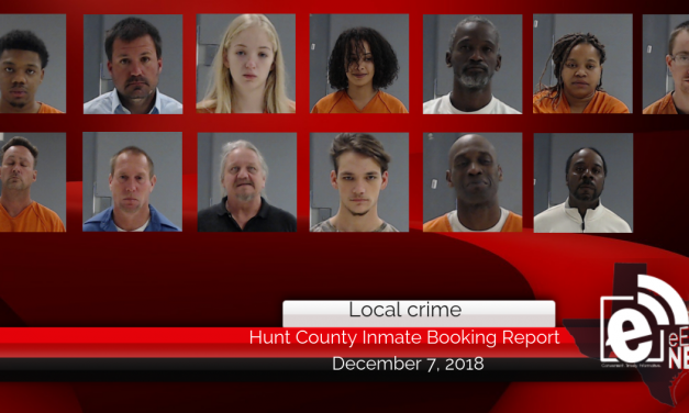 Hunt County inmate booking report || December 7, 2018