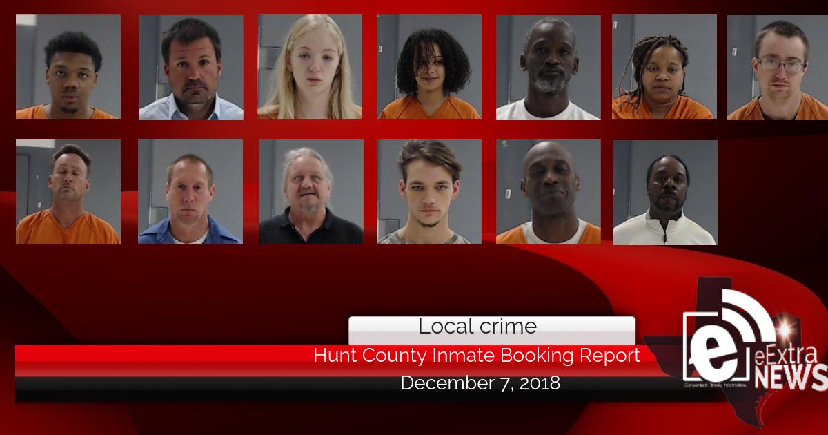 Hunt County inmate booking report || December 7, 2018