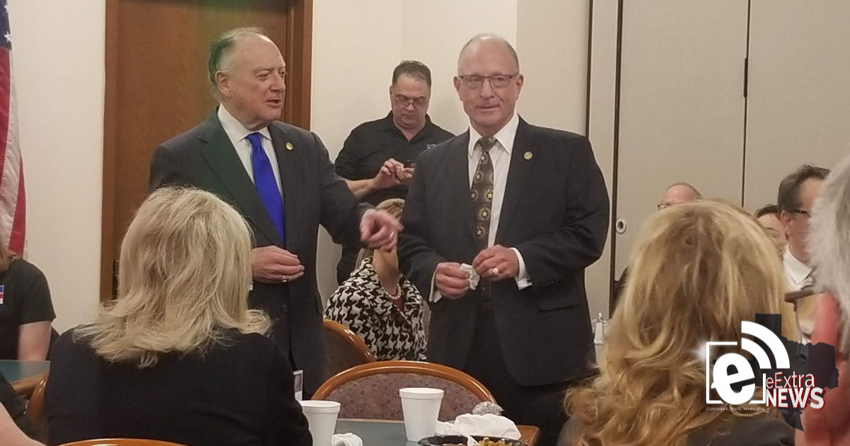 Senator Hall and Representative Flynn address constituents from Hunt County