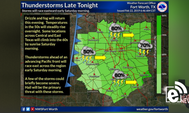 Thunderstorms could form late tonight and early Saturday morning