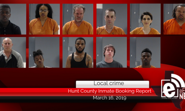 Hunt County inmate booking report || March 16, 2019