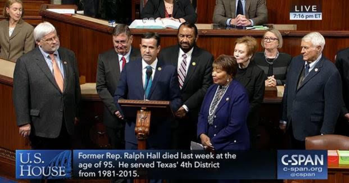 Rep. Ratcliffe commemorates Congressman Ralph Hall on U.S. House floor